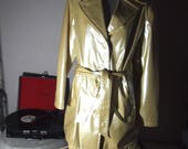 Unisex 90s / 1990s Vintage PVC Pastel Pearl Yellow Classic Street Chic Cool Rave Wave Shiny Belted Raincoat Trench Jacket