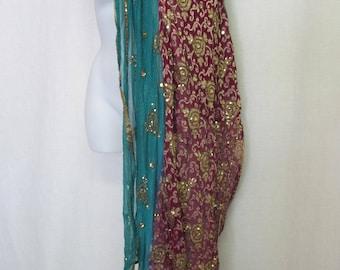 Sari Shawl Chiffon Indian Shawl Chiffon Shawl Beaded Shawl Embroidered Shawl Metallic