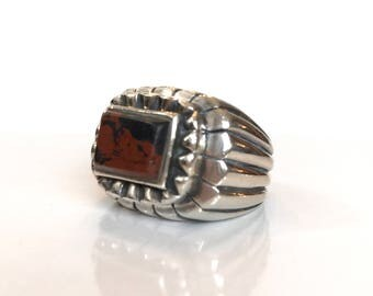 Vintage Native American Indian Ring Navajo Sterling Silver Brown Jasper Mens Ring 1940s Pawn Southwestern Jewelry Antique Estate Jewelry