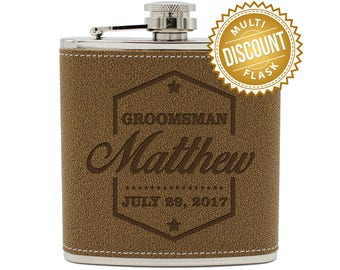 Engraved Leather Flask, Groomsmen Gift Flask, Personalized Flask for Men, Monogram Flask, Personalized Flask, Wedding Party Flasks Hip Flask