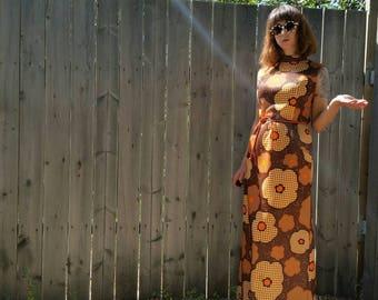 1970s Vintage Windsor Maxi Dress with Orange Leather Belt