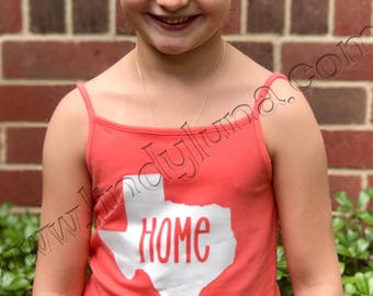 Child's tank top or tee with state of Texas and HOME cut out