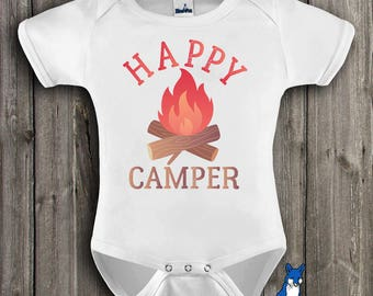 Happy Camper Bodysuit, Camping baby clothes, Camping kids shirt, Cute Baby bodysuit, Happy Camper bodysuit, Outdoor baby, GBS118