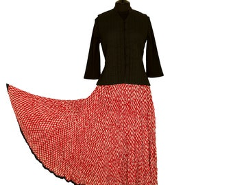 Block Printed CRINKLE SKIRT - One size 8 to 18 - Red with Small White motif