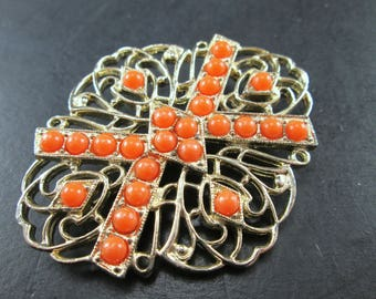 Vintage Sarah Coventry Gold Tn Filigree & Orange Cabochon Brooch Pin Signed