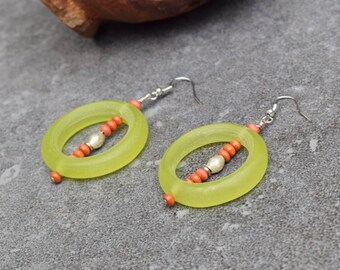 SALE Colorful Tribal Earrings, Statement Earrings, Boho Jewelry, Ethnic Jewelry, Long African Earrings, Orange Lime Green, Hippie Earrings
