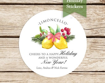 Limoncello Holiday Stickers, Custom Holiday Stickers, Limoncello Labels, Merry Christmas Stickers, Limoncello Favor Stickers