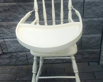 Vintage High Chair Pale Yellow Shabby Chippy Distressed Vintage High Chair 1800's Vintage High Chair
