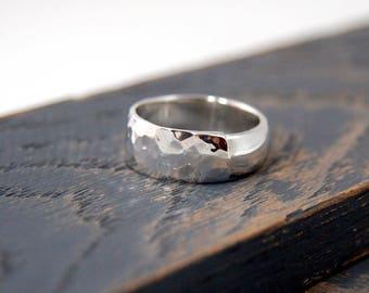 Mens hammered wedding ring, Mens hammered wedding band, Sterling silver hammered wedding ring