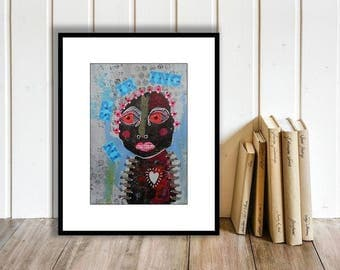 Outsider Art Painting Mixed Media Collage Folk Art Funky Weird Crazy Eccentric Red Eyed Monster Quirky Artwork