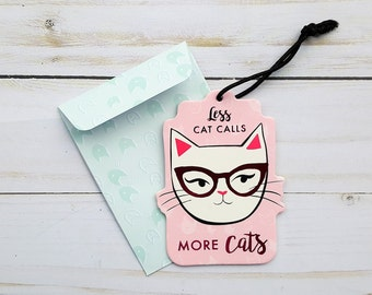 Cat Gift Tag, Cat Lover Gift Tag, Birthday Gift Tag, Favor Tag, Fun Envelope, Kitty Gift Tag, Cat Favor Tag, Cat Themed Birthday