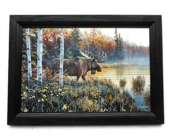 Master of His Domain, Moose Picture, Jim Hansel, Art Print, Cabin Decor, Wall Hanging, Handmade, 21X15, Custom Wood Frame, Made in the USA