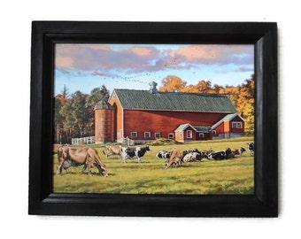 Cows and Barn, Autumn Splendor, Bonnie Mohr Print, Country, Art Print, Wall Hanging, Handmade, 19X15, Custom Wood Frame, Made in the USA