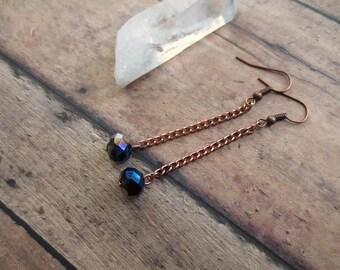 Iridescent Crystal Earrings, Gem Galaxy Earrings, Mystical Boho Earrings, Copper Chain Earrings