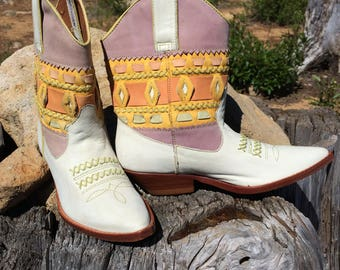 Cowboy Boots Womens Western Ankle Booties Size 5.5 Vintage Pastel Cowgirl Shoes