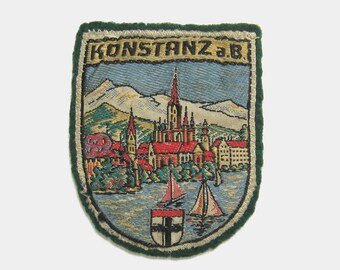 Vintage 1970s Konstanz Fabric Patch - Lake Constance Bodensee German Germany River Rhine green yellow cathedral badge souvenir travel 1980s