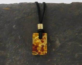 Murano Lampwork Glass Pendant, Dichoric Glass, Black Suede Necklace