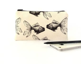 Fish pencil pouch, Makeup pouch, Zip up wallet, Pencil bag, Pencil case, Travel wallet, Makeup bag, Zipper pouch, Travel accessory, Koi fish