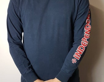 Vintage 90's Independent Truck Co. Tee Shirt / Long Sleeve Independent Skate Board T - Shirt 1990s Retro Throwback Hip Hop FREE SHIPPING