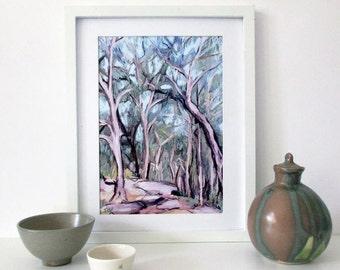 Modern Landscape Art Print, Printable Wall Art, Australian Landscape, Gum Tree Print, Downloadable Art Print, A4, Digital Art, Gift for Wife