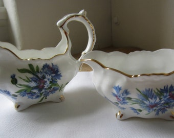 Vintage Hammersley Sugar And Creamer / Bone China/ Three Footed/ Made In England/ Cornflower / Gold Trim/ Collectible/ Gift For Her/ Blue