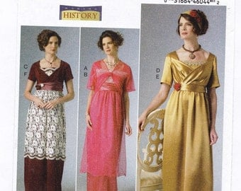Historical Josephine Dress - Butterick B6190- Woman Size 14, 16, 18, 20, 22 Uncut Sewing Pattern - Empire-Waist Dress, Jacket and Headbands