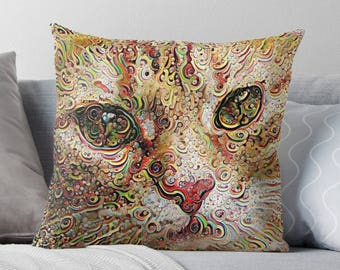 Cat Cushion, Psychedelic Pillow, Psychedelic Decor, Ginger Cat, Orange Cat Pillow, Cat Decor, Cat Lover Gift, Cat Lady