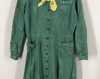 Vintage 1950's Girl Scouts Dress W/ Amazing Patches