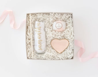 Bridesmaid Gift Box -  Personalized Stemless Champagne Glasses / Flutes - Flute, Bath Bomb, Ring Dish Bridesmaid Proposal