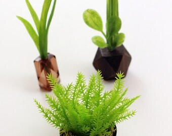 Set of 3 Miniature Vases - Tall Grasses + Ferns Collection