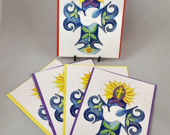 """5 Blank cards 5"""" X 7"""" with envelopes - print of original watercolor painting - """"Cross of Peace"""""""