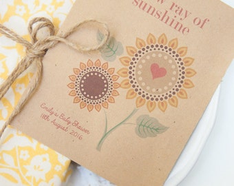 10 Ray Of Sunshine Personalised Seed Packet Baby Shower Favours