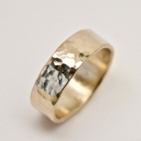 Gold Hammered Ring - 9 Carat Yellow Gold