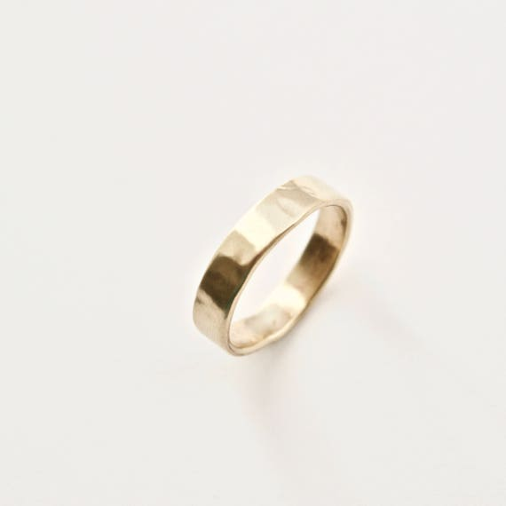 Gold Wedding Band - 9 Carat Gold Molten Ring - Alternative Wedding Ring