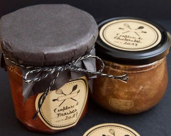 10 labels on adhesive paper for your jam jars