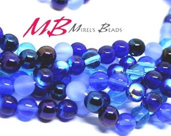 50 8mm Blue Mix Druk Beads, Blue Tone Iris Mix Czech Round Druk Beads