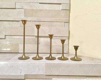 Vintage set of five candle holder brass candle sticks Shelf or table decor, Christmas thanksgiving home decor shelf decor gold metal holders