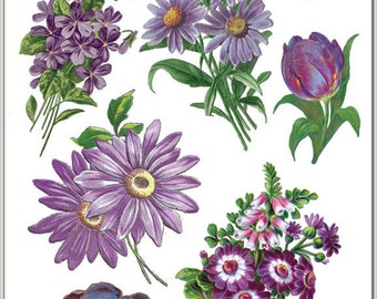Stickers-Purple Garden-Purple Flowers-Decoupage-Collage-Mixed Media-Scrapbooking-Clear Stickers-2 Sheets-Violette Stickers