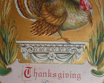 Turkey On a Pedastal With Wheat, Pumpkin Antique Thanksgiving Postcard