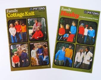 Vintage 1970s knitting pattern booklets x 2 - Paton's - family designs women men children Husky Cottage Knit classics