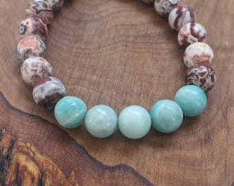 Crazy Agate and Aquamarine - Mala bracelet - Intellect, true joy and fight fears