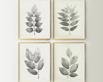 Botanical decor art print set Gray white wall decor Leaves gallery wall Set of 4 Prints collection Monochrome decor 11x14 wall decor DIGITAL