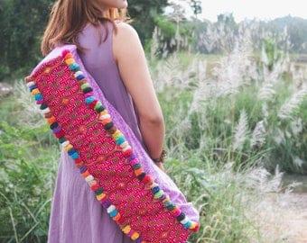 Artisanal Yoga Mat Bag for Women, Vintage Hmong Hill Tribe Embroidered, Ethnic Yoga Mat Bag in Purple, Gift Yoga Bag for her - BG523BAPUR