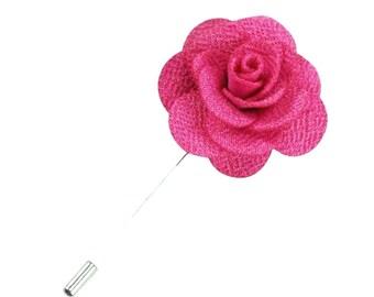 Hot Pink Lapel Pin Fuschia Wedding Boutonniere  Flower Lapel Pin Mens Lapel Pin Groomsmen Boutonniere Flower Groomsman Lapel Pin