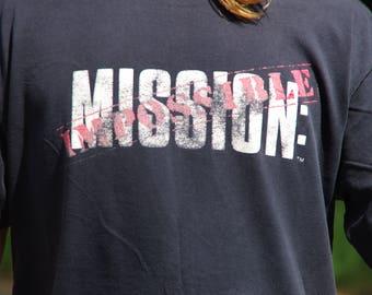 1996 MISSION IMPOSSIBLE movie black logo t-shirt size large