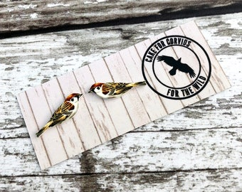 Sparrow Earrings, Sparrow Studs, Garden Bird, Bird Earrings, Bird Jewellery, Sparrow Jewellery