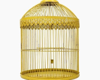 Vintage Metal Birdcage Yellow Wire Wires