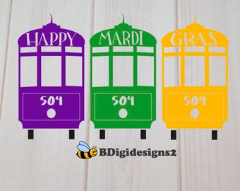 Mardi Gras Streetcar Heat Press Transfer