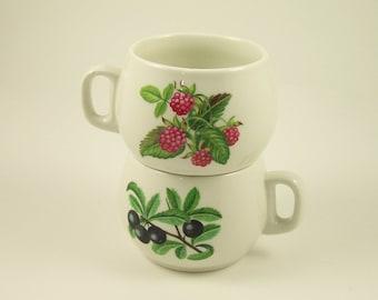 2 Porcelaine de Paris cups wild fruits pattern  Made in France french porcelain