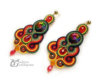 Soutache earrings Colorful Earrings Dangle Earrings Colorful Soutache jewelry Swarovski crystals earrings Chandelier Earrings